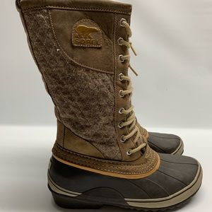 Sorel Laced Wool And Leather Tie Winter Boots 9